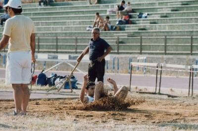 Livio Cacioppo nel salto in lungo ai Campionati Regionali Assoluti del 1985