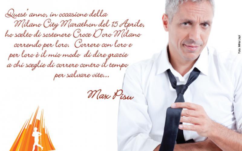 Max Pisu corre per Croce d'Oro Milano Onlus alla Milano City Marathon
